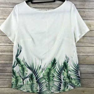 Ava & Viv White Green Short Sleeve Palm Leaf top